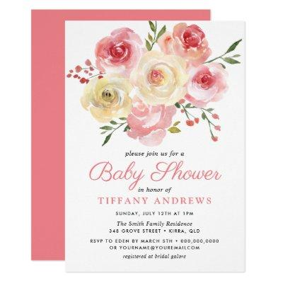 Blush Pink Peach Watercolor Floral Baby Shower Invitation