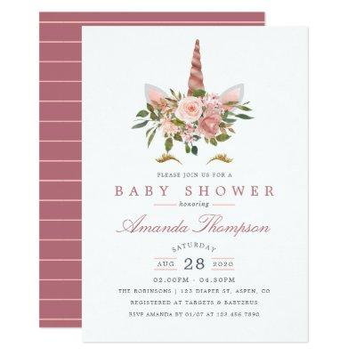 Blush Pink & Rose Gold Floral Unicorn Baby Shower Invitations