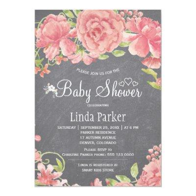 Blush pink rose peonies chalkboard baby shower invitation