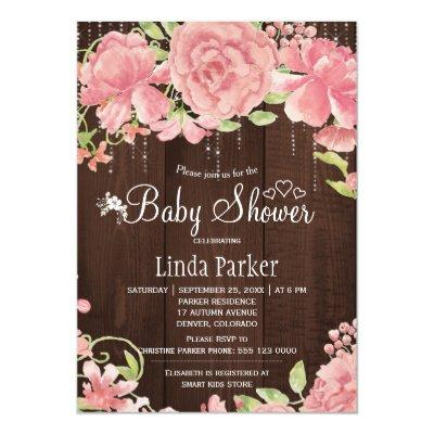 Blush pink rose peonies twinkle lights baby shower Invitations