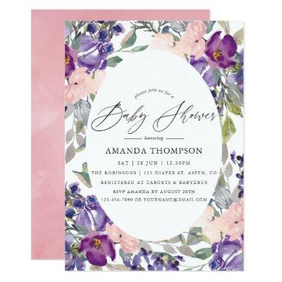 Blush Pink, Violet and Plum Floral Baby Shower Invitation