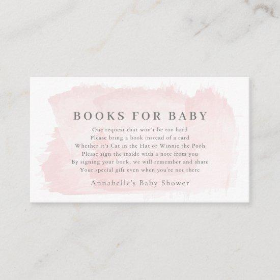 Blush Pink Watercolor Baby Shower Book Request Enclosure Card