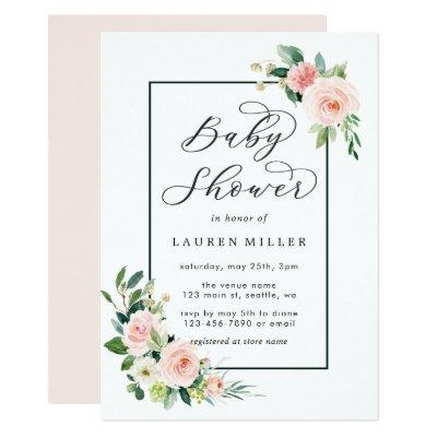 Blush Pink Watercolor Bloom Baby Shower Invitations