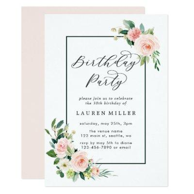 Blush Pink Watercolor Bloom Birthday Party Invitation