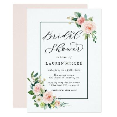 Blush Pink Watercolor Bloom Bridal Shower Invitations