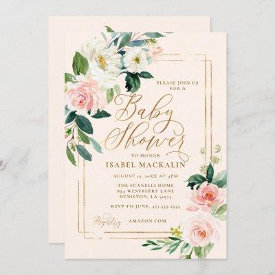 Blush Pink Watercolor Floral Greenery Baby Shower Invitation