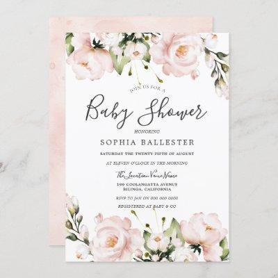 Blush Pink Watercolor Flowers Baby Shower Invitation