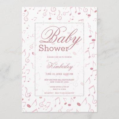 Blush pink white watercolor music note Baby Shower Invitation