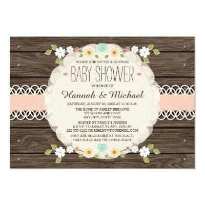 BLUSH RUSTIC FLORAL BOHO COUPLES BABY SHOWER Invitations
