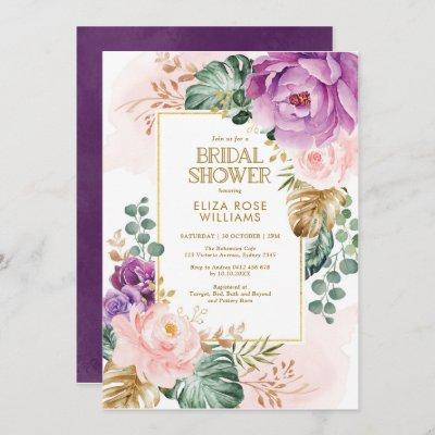 Blush Violet Tropical Bohemian Chic Bridal Shower Invitation