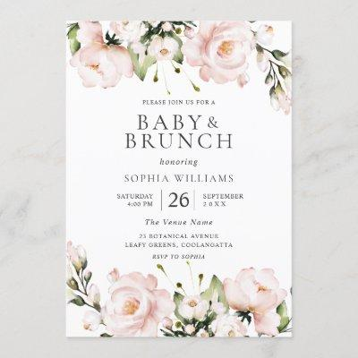 Blush Watercolor Flowers Baby Shower Brunch Invitation