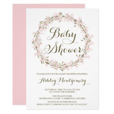 Blush Winter Wreath Baby Shower Invitations