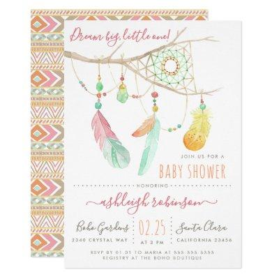 Bohemian Dream Catcher Baby Girl Shower Invitation
