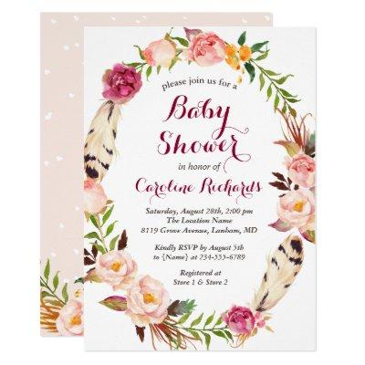 Bohemian Feather Boho Floral Wreath Baby Shower Invitations