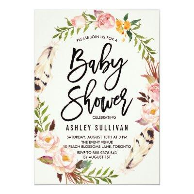 Bohemian Feathers and Floral Wreath Baby Shower Invitations