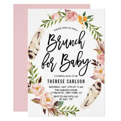 Bohemian Feathers Floral Wreath Baby Shower Brunch Invitations