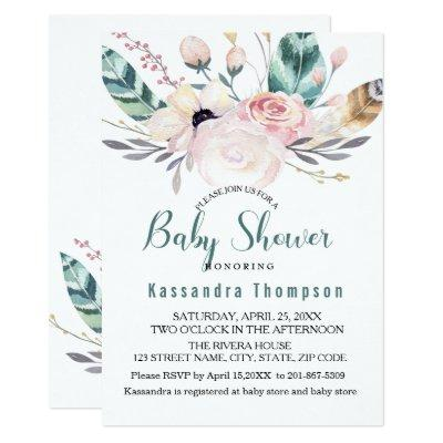 Bohemian Floral & Feathers Baby Shower Invitations