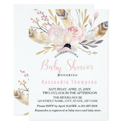 Bohemian Floral & Feathers Baby Shower Invitation