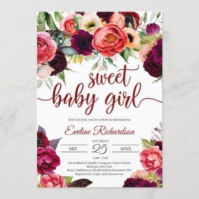 Bohemian gorgeous boho burgundy floral baby shower invitation