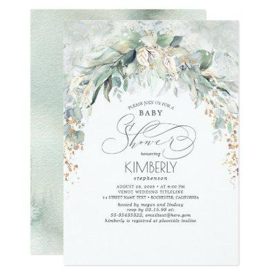 Bohemian Greenery Romantic Summer Baby Shower Invitation