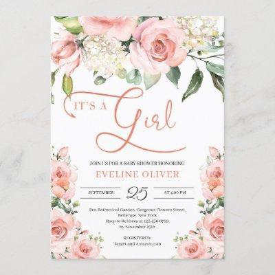 Bohemian romantic blush floral it's a girl baby invitation