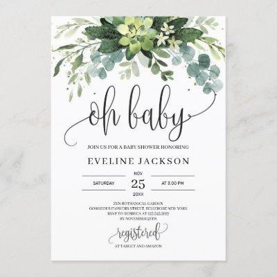 Bohemian succulent leaves floral oh baby shower invitation