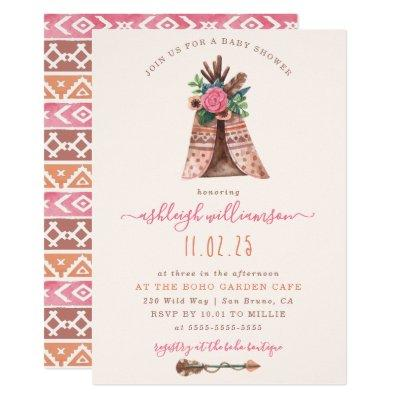 Bohemian Tee Pee & Tribal Arrow Baby Girl Shower Invitations
