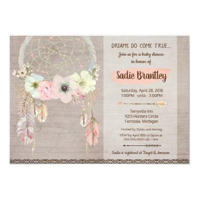 Boho Baby Shower Invitations, Dreamcatcher Rustic Invitations