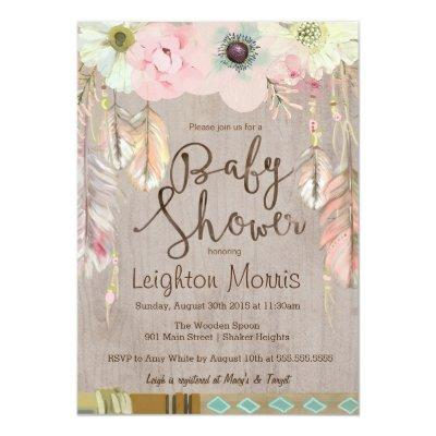 Boho Baby Shower Invitation, Tribal Feather Rustic Invitation