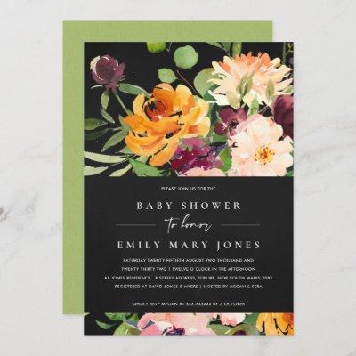 BOHO BLACK BLUSH YELLOW ORANGE FLORAL BABY SHOWER INVITATION