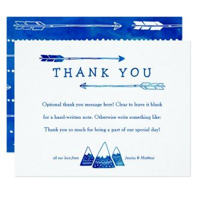 Boho Blue Thank You Invitations for Adventure Baby Shower