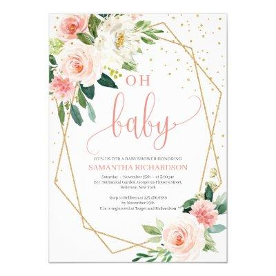 Boho Blush Pink Floral Baby Shower Invitation