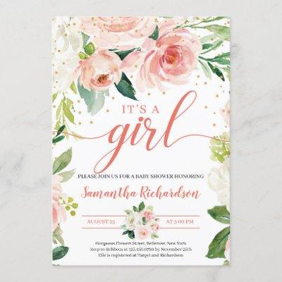 Boho Blush Pink Floral Greenery It's A Girl Baby Invitation