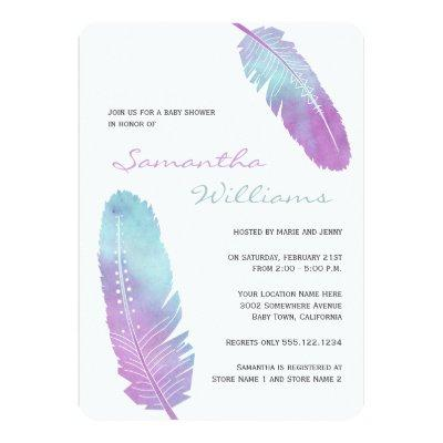 Boho Bohemian Feather Purple Baby Shower Invitation