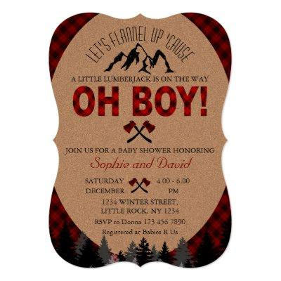 Boho Boy Lumberjack Red Buffalo Baby Shower Invite
