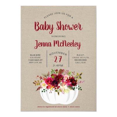 Boho Burgundy Floral Pumpkin Baby Shower Invite