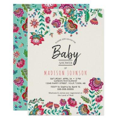 Boho Chic | Blue | Folk Flowers | Baby Shower Invitation