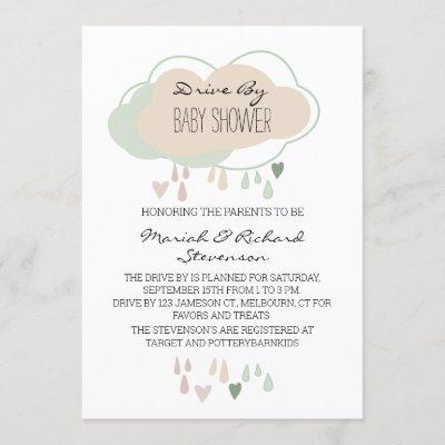 Boho Cloud Gender Neutral Drive By Baby Shower Invitation
