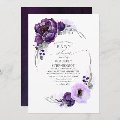Boho Dark Purple Floral Royal Baby Shower Invitation