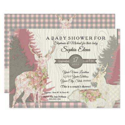 Boho Deer Bear Woodland Forest Plaid Baby Shower Invitations