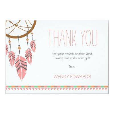 Boho Dream Catcher Baby Shower Thank You Invitations