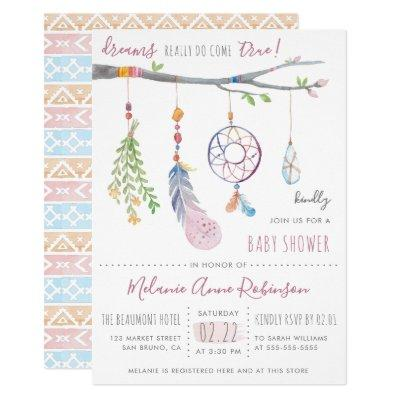 Boho Dream Catcher & Tribal Feathers Baby Shower Invitations