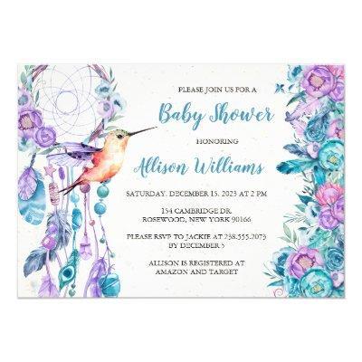 Boho Dreamcatcher Hummingbird Baby Shower Invitation