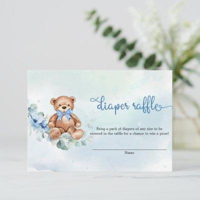 Boho Dusty Blue Floral Teddy Bear Diaper Raffle Enclosure Card