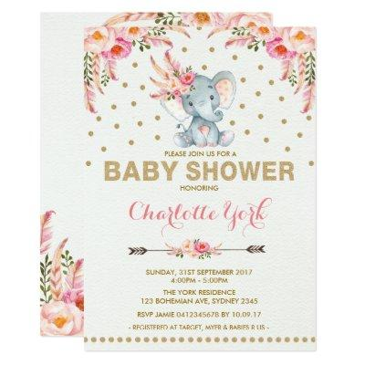 Boho Elephant Baby Shower Invite Pink Gold Jungle