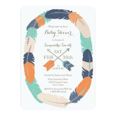 Boho Feather & Arrow Navy Orange Teal Invitations