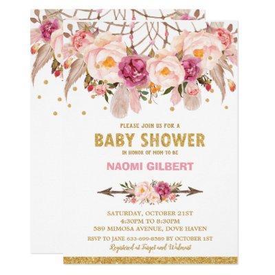 Boho Floral Dream Catcher Baby Shower Girl Invitation