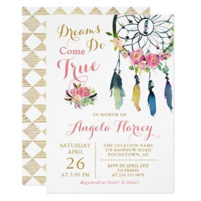 Boho Floral Dream Catcher Pink & Gold Baby Shower Invitation
