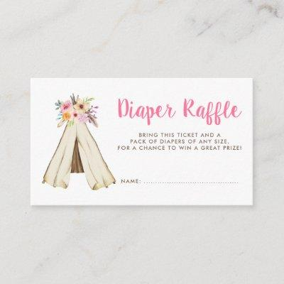 Boho Floral Tribal Teepee Diaper Raffle Ticket Enclosure Card