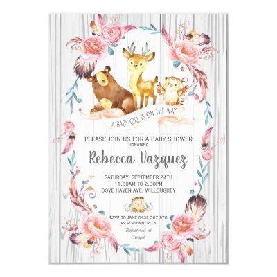 Boho Floral Woodland Animals Baby Shower Girl Invitation